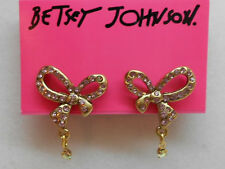 Betsey Johnson Tzarina Princess Gold Tone Post Earrings W Lavender Crystal Bow