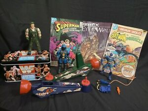 Vintage Toy Bundle, GI Joe, Ghostbusters Back Pack, WWF Game, Comic Books LOT