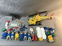 Rare Vintage 1974, 76 Geobra Playmobil Set Police Helicopter Horse Motorcycles +