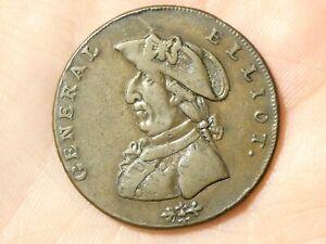 1792 GENERAL ELLIOT Birmingham Halfpenny Token Condor  #TT119