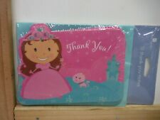 AMERICAN GREETINGS PRINCESS PINK KID'S THANK YOU 10 PK NOTE CARDS NEW A21740