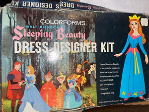 Vtg 1959 Walt Disneys Sleeping Beauty Dress Designer Colorform Set