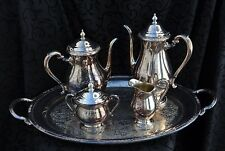 Vintage Set 1940s International Silver CAMILLE Coffee & Tea Pot lg. oval Platter