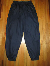 Nike Vintage Navy Nylon Running Warm Up Basketball Pant Mesh Lined Men's LT FR35