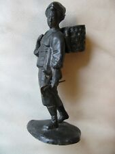 Antique Asian Japanese Figure Basket Harvest Figure Metal Spelter Statue 6 1/2""