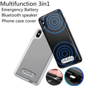 3in1 External Emergency Battery Bluetooth Speaker Phone Case For iPhone X XR 7 8