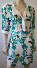 MISSONI White Green Silk Chiffon Fish Print Belted 3/4 Sleeve Short Mini Dress