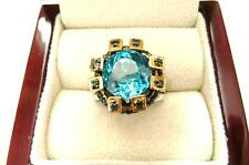 BLUE TOPAZ & BLUE SAPPHIRE 18 CARAT GOLD 925 STERLING SILVER RING SZ N1/2- O 7.5