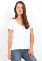 THREE DOTS Basic Short Sleeve V Neck Solid Cotton Tee Shirt Top Off White S $58