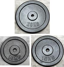 """2 x 20kg, 2 x 15kg & 2 x 10kg Weight Discs (6), Cast Iron 1"""" hole Plates (90kg)"""