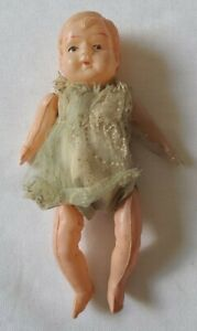 """Antique Celluloid Doll Miniature Dollhouse Jointed W/Silk Dress 5"""""""