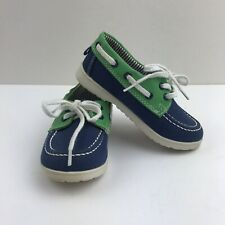 H&M Boys Toddlers Size 24M Green/Blue/white Lace Loafers Shoes