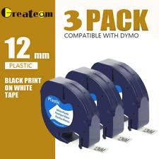 3PK Compatible Dymo LetraTag Refill White Plastic 91201 Label Tape 12mm LT-100H.