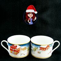 AMERICAN ATELIER CHRISTMAS CUPS MUGS 2-Piece Set Winter Themed Scene MINT COND!