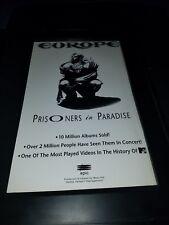 Europe Prisoners In Paradise Rare Original Radio Promo Poster Ad Framed!