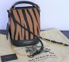 BURBERRY PRORSUM Small Bucket Backpack Camel Leopard Calf Hair Leather w/ Chain