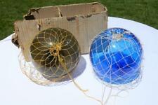 "2 Vtg Nautical Japanese Hand Blown Glass Fishings Floats 8"" Blue & Smokey Gray"