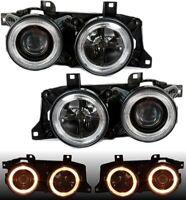 Angel Eyes Headlights black with crosshair for BMW E34 E32 RHD LHD cars