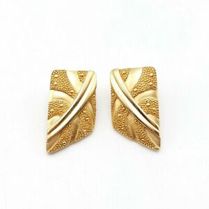 Vintage Monet Signed Gold Tone Abstract Dimensional Pierced Earrings