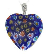 Necklace on Silver Plated Chain (40mm) Pretty Dark Blue Heart Shape Pendant