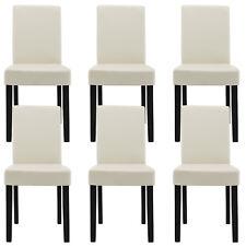 6x [en.casa]® Stühle Hochlehner Esszimmer Stühle Creme Kunst-Leder Polster Stuhl
