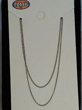 Fossil Brand Stainless Steel MICRO STARTER CHARM Double Necklace JF02199 $48