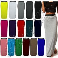 Women Plain Elasticated Summer Gypsy Maxi Long PullUp Stretch Bodycon Skirt 8-26