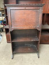 Vintage Small Brown Wooden Shelving Unit Bookcase Bureau Desk Drop Down Front