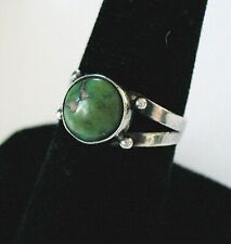 Early Fred Harvey Era Sterling Silver Round Green Turquoise Ring -- Sz. 7