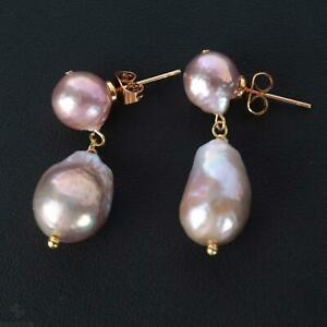 Natural pink baroque pearl Earring 18k Ear Drop Women Party Wedding Classic