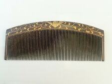 Japanese old comb. For interior decoration. Dark brown & gold color.