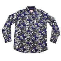 "Joe Browns Mens Medium M Long Sleeve Purple Black White Floral Cotton Shirt 40"""
