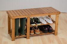 Wooden Slatted 3 Tier Shoe Rack Bench Storage Stand Shelf Holder Cabinet Seat
