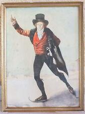 tableau dessin aquarelle patineur sur glace Doublier peinture