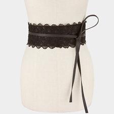 """30"""" long black faux leather lace corset wrap belt 4"""" wide 77"""