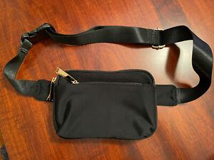 UTO Belt Bag - Waist Bag - Fanny Pack - Black Nylon Triple Zip Gold HW
