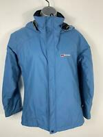 WOMENS BERGHAUS BLUE CASUAL OUTDOORS ACTIVITY CASUAL COAT HOODED JACKET SIZE 10