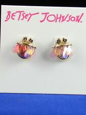 Betsey Johnson Goldtone TORTIFLY Pink Iridescent Wings Fly Stud Earrings $25