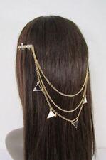 New Women Gold Head Metal Chains Fashion Crosses Jewelry Hair Rhinestones Pins