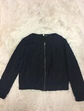 Anthropologie MOTH Women's Blue Black Lace Zip up Wool Blend Jacket Size Medium