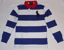 Ralph Lauren Rugbyshirt NEUW Gr.8 Jahre / S /128 blau-weiß Streifen Big Pony