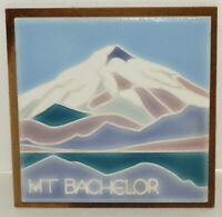 Vintage Hand Painted Mt. Bachelor Art Wall Tile Trivet By Kibak Artist Lorina 6""