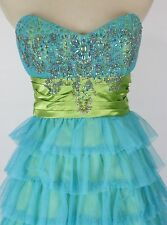 Roberta $120 Turquoise Strapless Prom Formal Cruise Short Evening Dress size 3