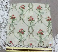 """French Antique c1870 Pink Roses Green Ribbons Cotton Fabric~L-13"""" X W-12"""""""