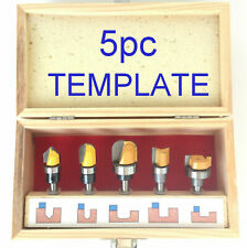 "5 pc 1/4"" Shank Top Bearing Template Molding Pattern Router Bit Set S"