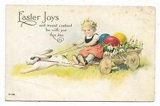 VINTAGE FANTASY EASTER POSTCARD BUNNY RABBIT PULL CART GIRL CHILD COLORED EGGS