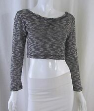 GINGER G Black White Marbled Cotton Blend Cropped Sweater Crop Top Small