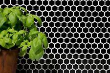 Mosaïque carreau céramique hexagone noir brillant cuisine 11A-0302_b | 1 plaque