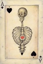 A5 STAMPA -- vintage playing card ASSO DI PICCHE CON SCHELETRO UMANO (PICTURE ART)