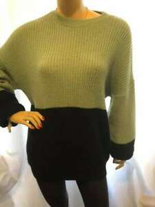 7/11 PREOWNED GREEN BLACK LONG SLEEVE RIBBED IN THE STYLE OVERSIZE JUMPER TOP 6